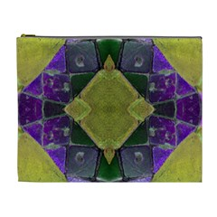 Purple Yellow Stone Abstract Cosmetic Bag (xl) by BrightVibesDesign