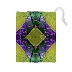 Purple Yellow Stone Abstract Drawstring Pouches (Large)  by BrightVibesDesign