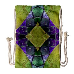 Purple Yellow Stone Abstract Drawstring Bag (large) by BrightVibesDesign