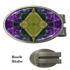Purple Yellow Stone Abstract Money Clips (oval)  by BrightVibesDesign
