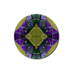 Purple Yellow Stone Abstract Rubber Coaster (Round)  by BrightVibesDesign