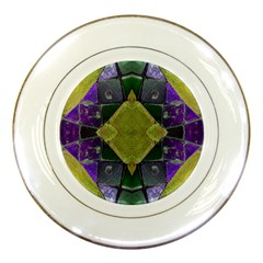 Purple Yellow Stone Abstract Porcelain Plates by BrightVibesDesign