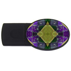 Purple Yellow Stone Abstract USB Flash Drive Oval (4 GB)  by BrightVibesDesign