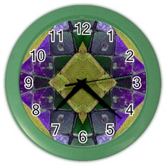 Purple Yellow Stone Abstract Color Wall Clocks by BrightVibesDesign