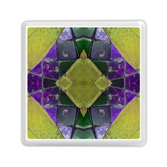 Purple Yellow Stone Abstract Memory Card Reader (square)  by BrightVibesDesign