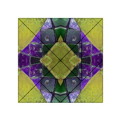 Purple Yellow Stone Abstract Acrylic Tangram Puzzle (4  X 4 ) by BrightVibesDesign