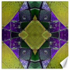 Purple Yellow Stone Abstract Canvas 12  X 12   by BrightVibesDesign