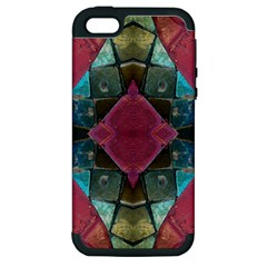 Pink Turquoise Stone Abstract Apple Iphone 5 Hardshell Case (pc+silicone) by BrightVibesDesign