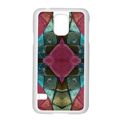 Pink Turquoise Stone Abstract Samsung Galaxy S5 Case (white) by BrightVibesDesign