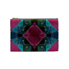 Pink Turquoise Stone Abstract Cosmetic Bag (medium)  by BrightVibesDesign
