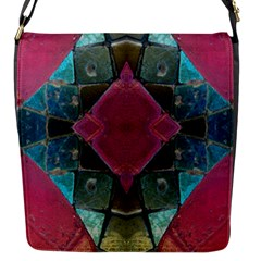Pink Turquoise Stone Abstract Flap Messenger Bag (s) by BrightVibesDesign