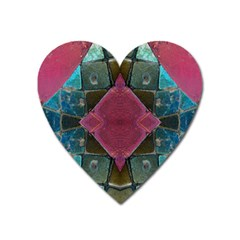 Pink Turquoise Stone Abstract Heart Magnet by BrightVibesDesign