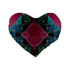 Pink Turquoise Stone Abstract Standard 16  Premium Heart Shape Cushions by BrightVibesDesign