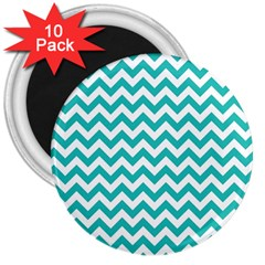 Turquoise & White Zigzag Pattern 3  Magnet (10 Pack) by Zandiepants