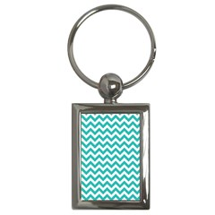 Turquoise & White Zigzag Pattern Key Chain (rectangle)