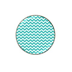 Turquoise & White Zigzag Pattern Hat Clip Ball Marker (4 Pack)