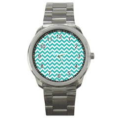 Turquoise & White Zigzag Pattern Sport Metal Watch by Zandiepants