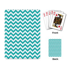 Turquoise & White Zigzag Pattern Playing Cards Single Design