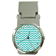 Turquoise & White Zigzag Pattern Money Clip Watch by Zandiepants