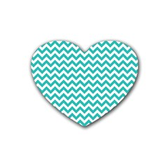 Turquoise & White Zigzag Pattern Rubber Coaster (heart)