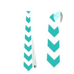 Turquoise & White Zigzag Pattern Necktie (one Side) by Zandiepants