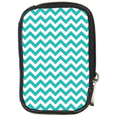 Turquoise & White Zigzag Pattern Compact Camera Leather Case