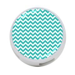 Turquoise & White Zigzag Pattern 4 Port Usb Hub (one Side)