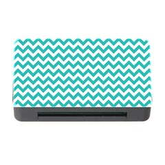 Turquoise & White Zigzag Pattern Memory Card Reader With Cf