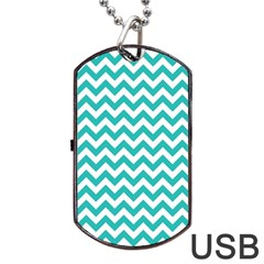 Turquoise & White Zigzag Pattern Dog Tag Usb Flash (two Sides)