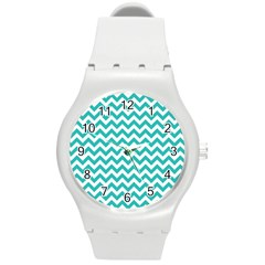 Turquoise & White Zigzag Pattern Round Plastic Sport Watch (m) by Zandiepants