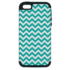 Turquoise & White Zigzag Pattern Apple Iphone 5 Hardshell Case (pc+silicone)