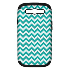 Turquoise & White Zigzag Pattern Samsung Galaxy S Iii Hardshell Case (pc+silicone) by Zandiepants