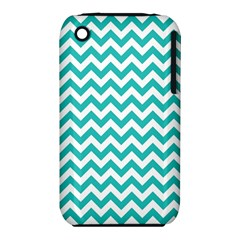 Turquoise & White Zigzag Pattern Apple Iphone 3g/3gs Hardshell Case (pc+silicone)
