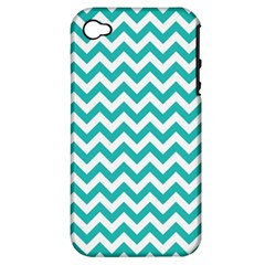 Turquoise & White Zigzag Pattern Apple Iphone 4/4s Hardshell Case (pc+silicone) by Zandiepants