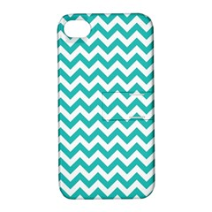Turquoise & White Zigzag Pattern Apple Iphone 4/4s Hardshell Case With Stand