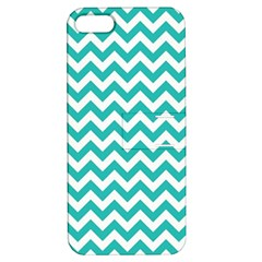 Turquoise & White Zigzag Pattern Apple Iphone 5 Hardshell Case With Stand