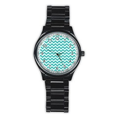Turquoise & White Zigzag Pattern Stainless Steel Round Watch
