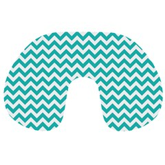 Turquoise & White Zigzag Pattern Travel Neck Pillow