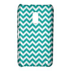 Turquoise & White Zigzag Pattern Nokia Lumia 620 Hardshell Case
