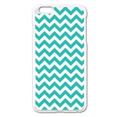 Turquoise & White Zigzag Pattern Apple Iphone 6 Plus/6s Plus Enamel White Case by Zandiepants