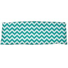 Turquoise & White Zigzag Pattern Body Pillow Case Dakimakura (two Sides) by Zandiepants