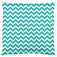Turquoise & White Zigzag Pattern Standard Flano Cushion Case (two Sides)