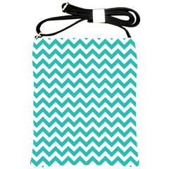 Turquoise & White Zigzag Pattern Shoulder Sling Bag