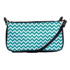Turquoise & White Zigzag Pattern Shoulder Clutch Bag