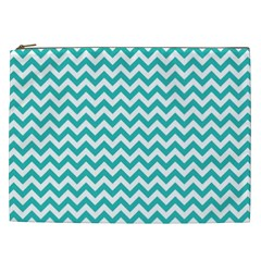 Turquoise & White Zigzag Pattern Cosmetic Bag (xxl)
