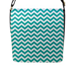 Turquoise & White Zigzag Pattern Flap Closure Messenger Bag (l)