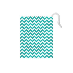 Turquoise & White Zigzag Pattern Drawstring Pouch (small)