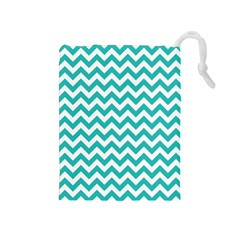 Turquoise & White Zigzag Pattern Drawstring Pouch (medium)