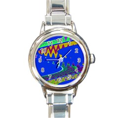 Colorful Wave Blue Abstract Round Italian Charm Watch by BrightVibesDesign
