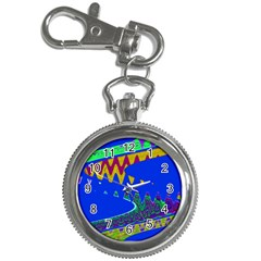 Colorful Wave Blue Abstract Key Chain Watches by BrightVibesDesign